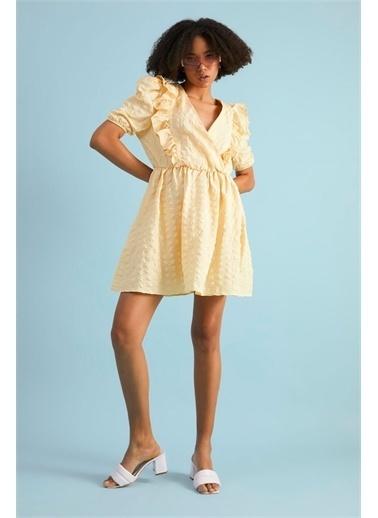 Z Giyim Kadın  Pembe  Kruvaze Balon Kol Mini Elbise Sarı